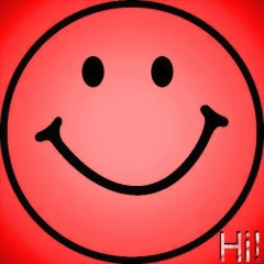 RED SMILEY - with text -super red