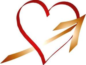 RED HEART, GOLD ARROW