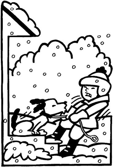 BOY PULLING DOG IN SNOW