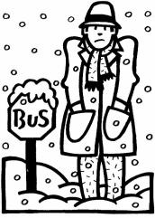 MAN AT BUS STOP IN SNOW