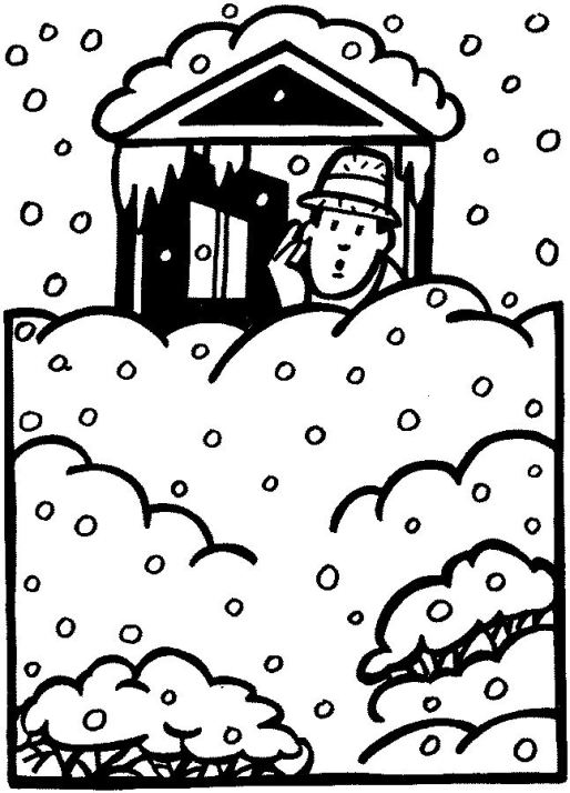 MAN AT DOOR DEEP SNOW