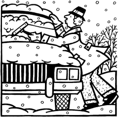 MAN CLEANING SNOW FROM CAR