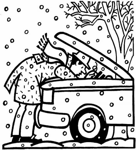MAN REPAIRING CAR IN SNOW