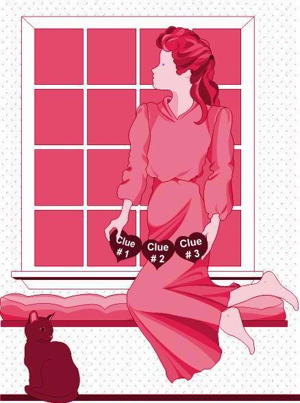 WOMAN AT WINDOW - RED