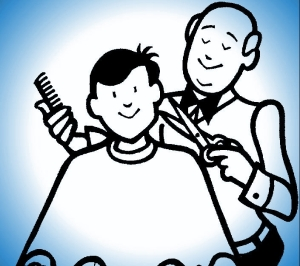 BARBER CARTOON - BLUE