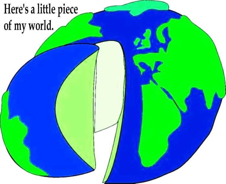 GLOBE - PIECE OF THE WORLD w. text. - dark blue