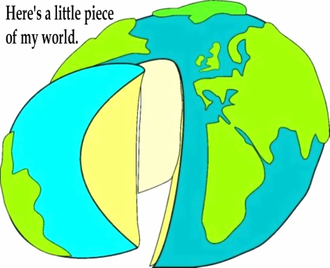 GLOBE - PIECE OF THE WORLD w. text.