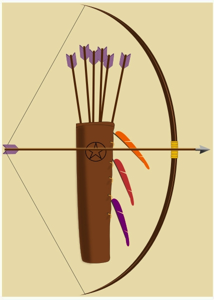 QUIVER AND BOW -- WP CLIPART - DARKER