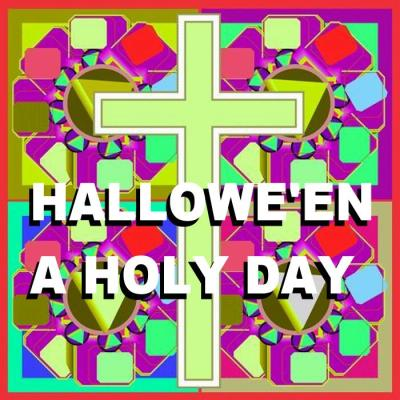 STAINED GLASS CROSS - w. hallowe'en text