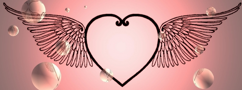 HEART WITH WINGS - PINK W. BUBBLES