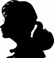 WOMAN SILHOUETTE, PONYTAIL