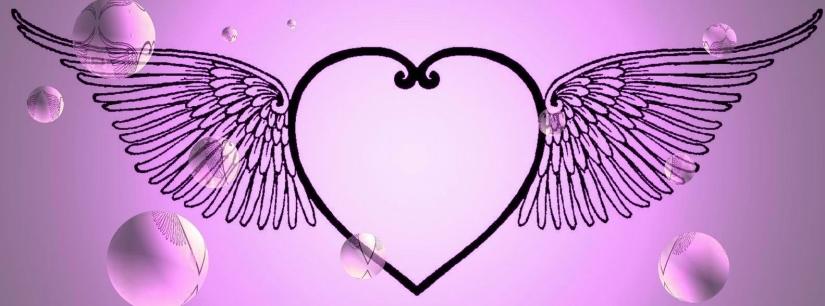 HEART WITH WINGS - Purple W. BUBBLES