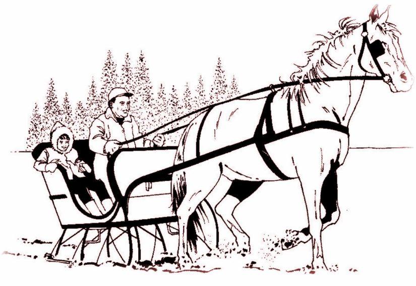 HORSE & SLEIGH IN SNOW - sepia