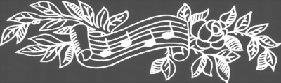 MUSICAL NOTES AND FLOWERS - NEGATIVE