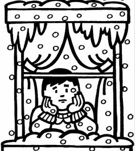 BOY AT WINDOW - SNOW