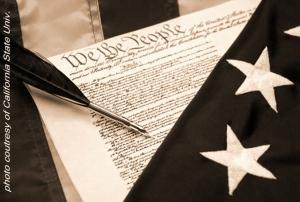 CONSTITUTION & FLAG - CALIF STATE UNIV. - b&w