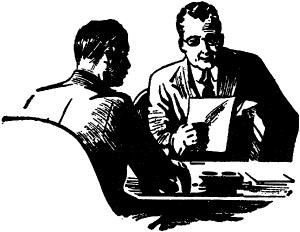 MEN TALKING ACROSS DESK