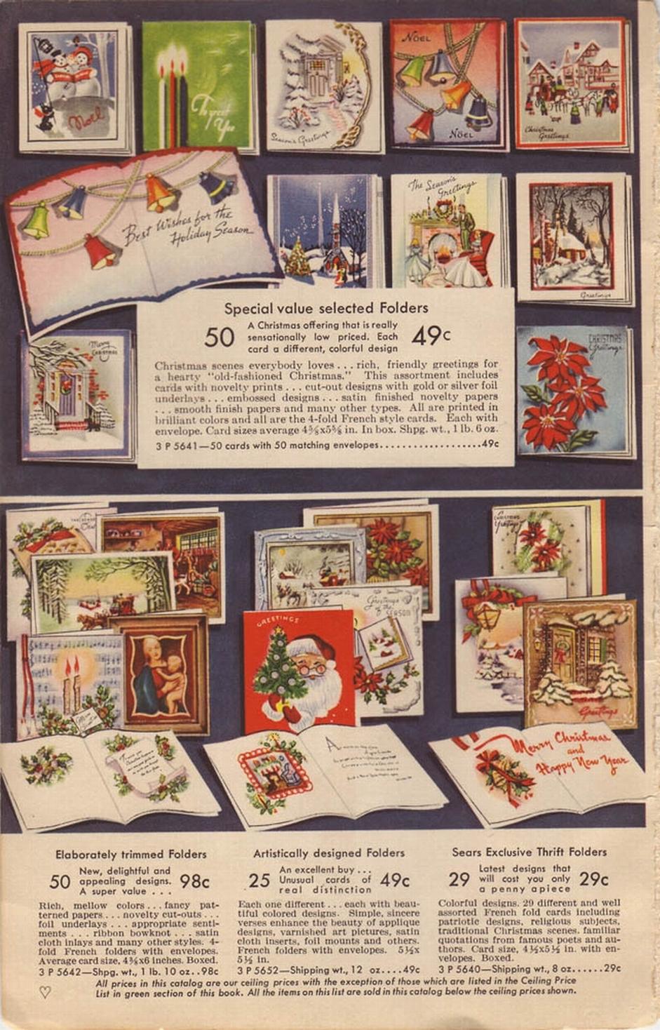 1942 SEARS CHRISTMAS CARD PAGE