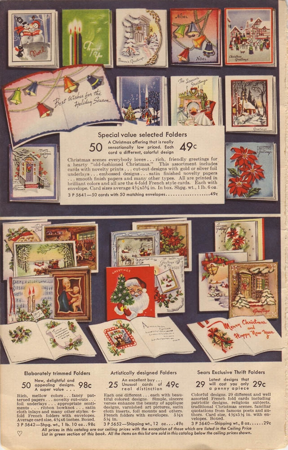 1942 SEARS CHRISTMAS CARD PAGE