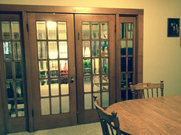 DINING ROOM THROUGH GLASS DOORS