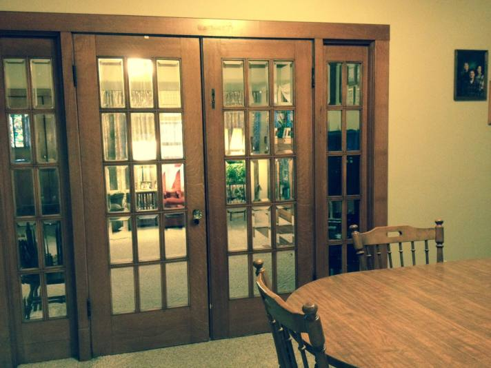 DINING ROOM THROUGH GLASS DOORS