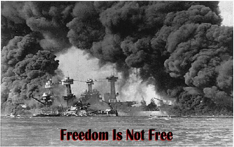 PEARL HARBOR, 1941, FREEDOM IS NOT FREE - black & red