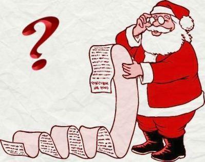 SANTA & LIST - all red w. question mark