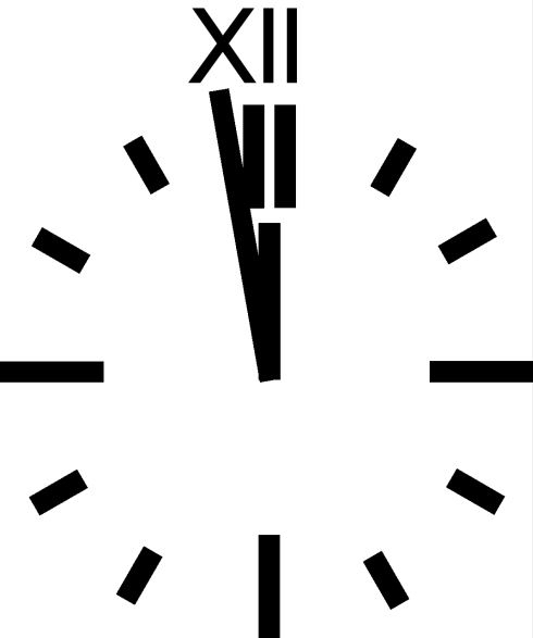 CLOCK - ROMAN 12. white