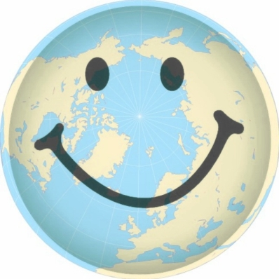 GLOBE WITH SMILEY