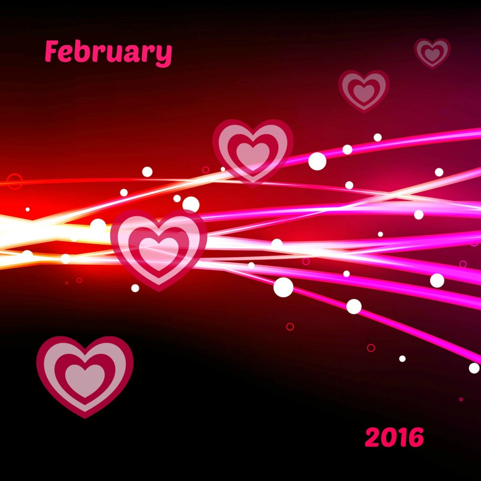 PINK AND RED LIGHT RAYS & HEARTS - february