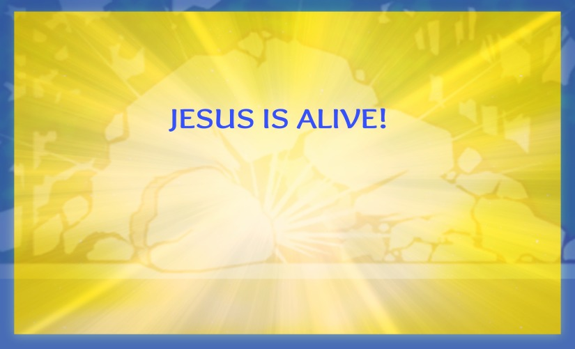 JESUS IS A LIVE YEL & BLUE