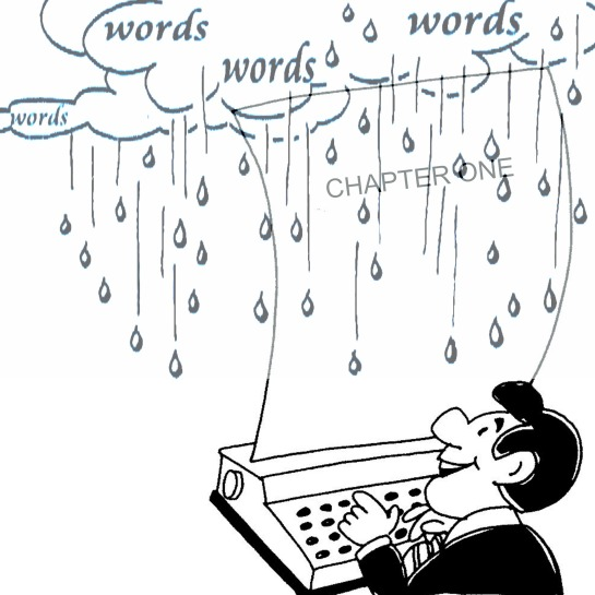 MAN TYPING WITH WORD RAIN
