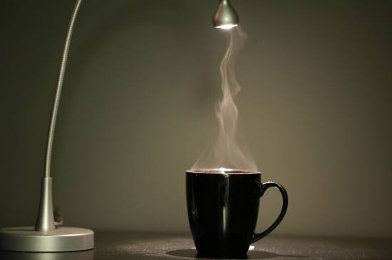 COFFEE UNDER LIGHT W. STEAM -- PIXABAY -haikatomts