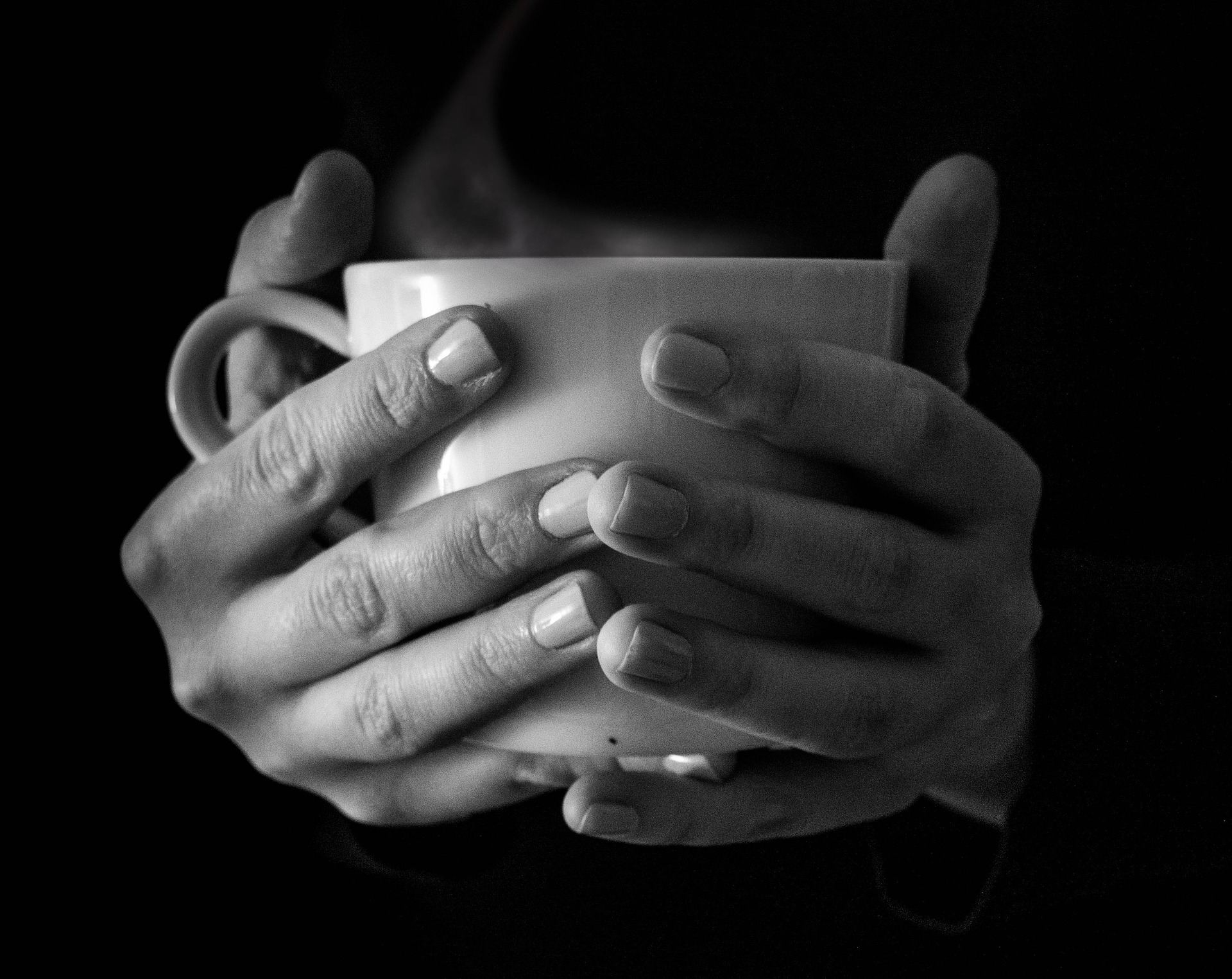 CUP W. HANDS B & W -- Stocksnap - PX