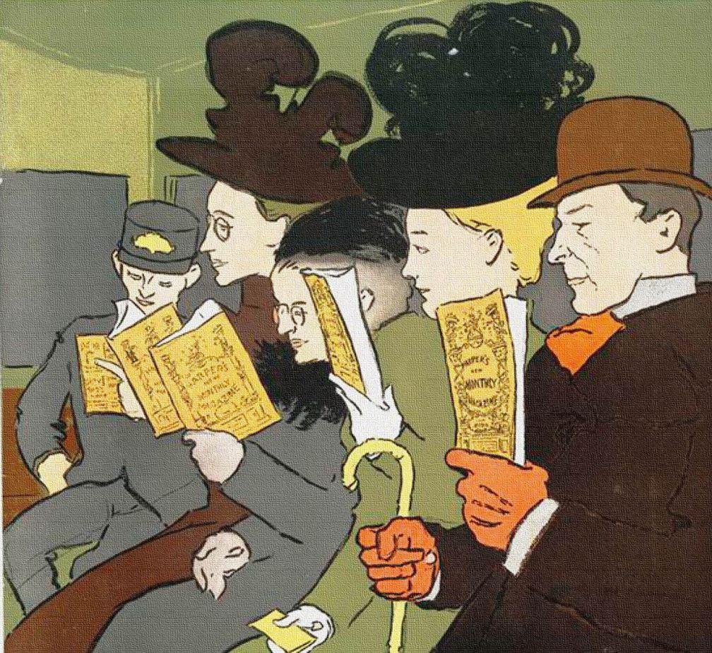 READERS ON TRAIN VINTAGE - ArtsyBee - PX