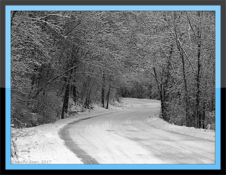 SNOWY ROAD THROUGH FOREST - with frame