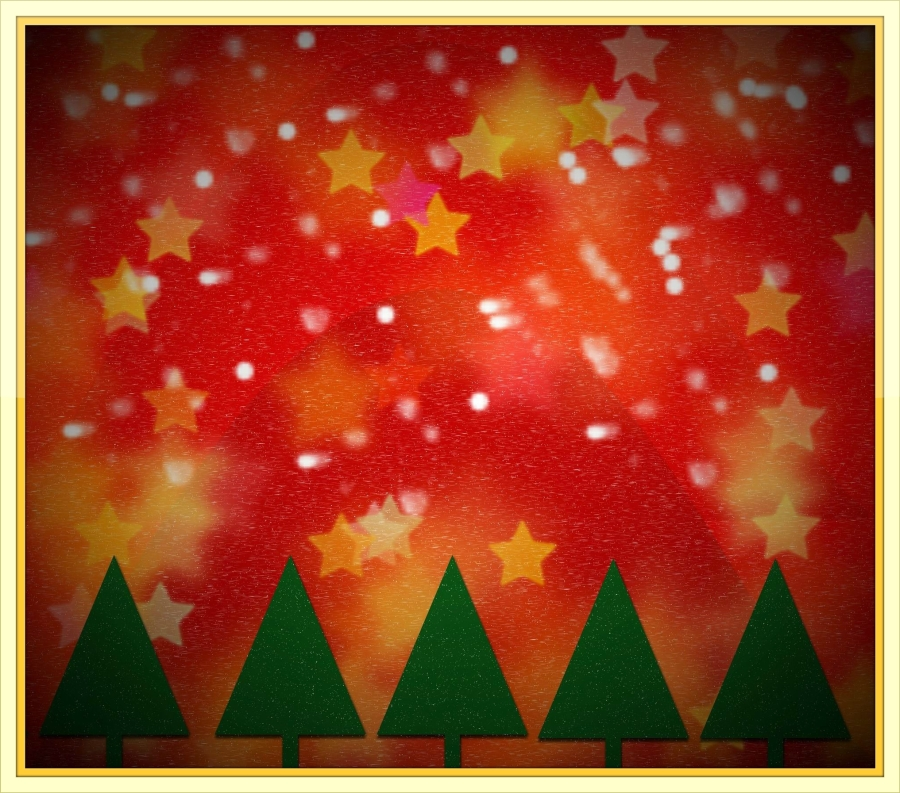 CHRISTMAS TREES - RED STAR BACKGROUND - Kalhh -- PX - framed