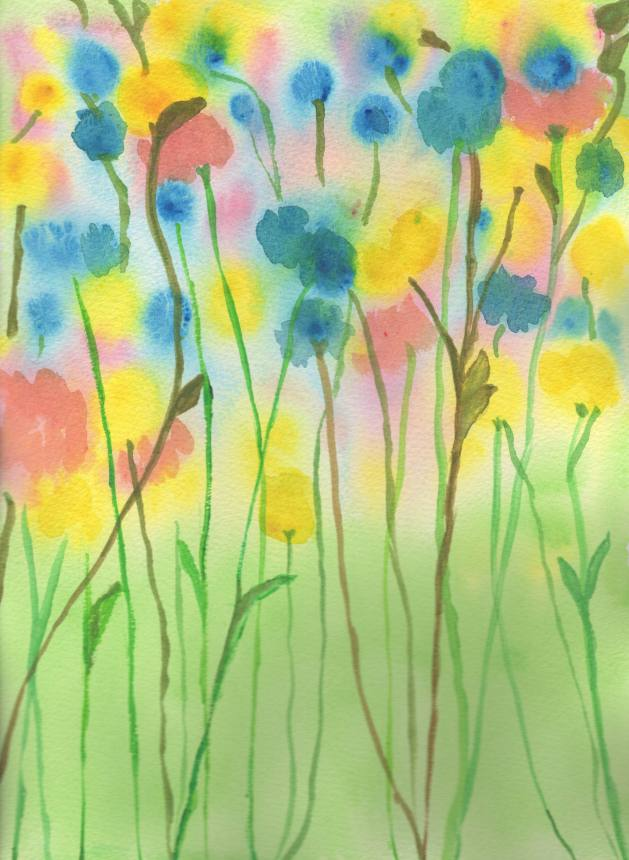 WATERCOLOR -- TALL FLOWERS