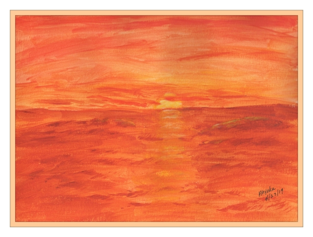SCARLETT SUNSET WATERCOLOR w. frame