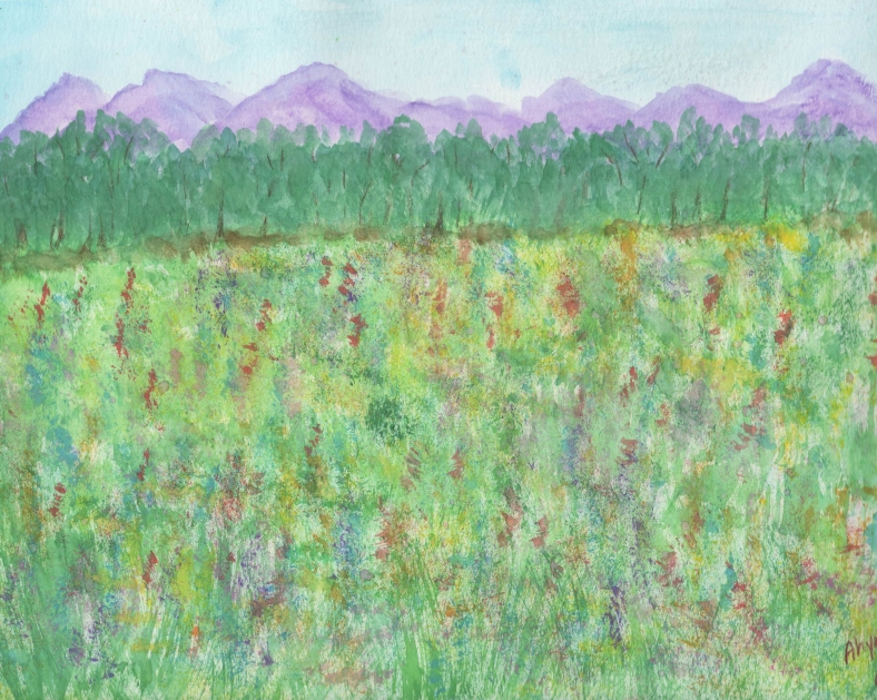 FIELD OF FLOWERS - WATERCOLOR EDITED