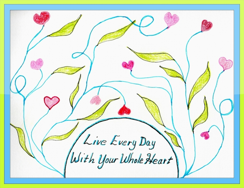 LIVE WITH WHOLE HEART GRAPHIC w. frame