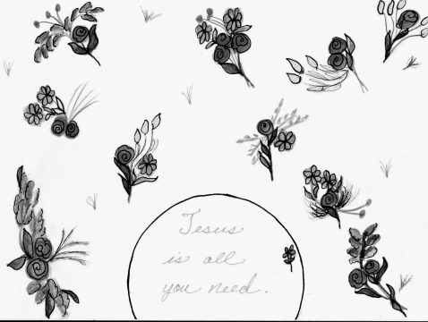 JESUS ALL YOU NEED FLORAL B & W