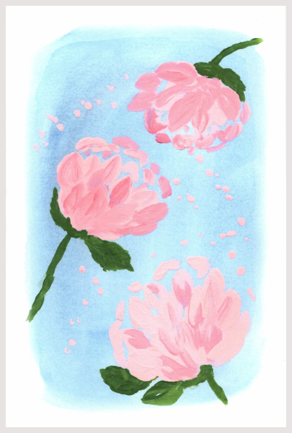 PEONY WATERCOLOR, ACRYLICS CARD pic w. border