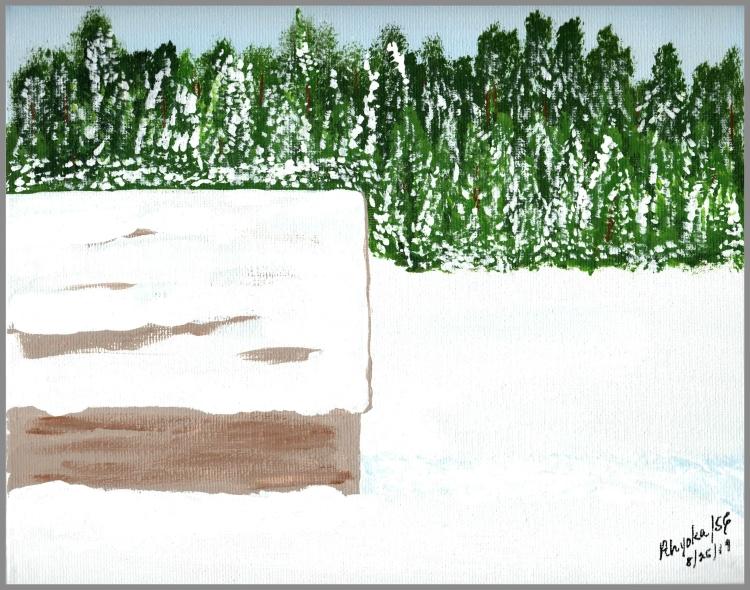 WINTER BARN - ACRYLICS - w. frame