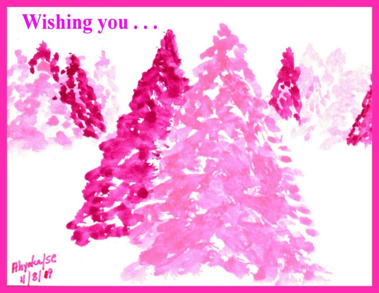 PINK CHRISTMAS TREES W. IPICCY BORDER - EDITED - w. sentiment