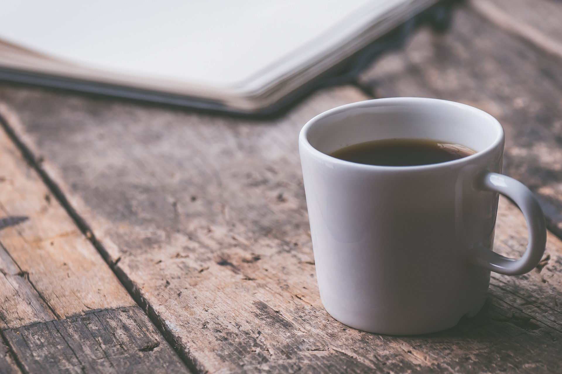 COFFEE ON WOODEN BENCH -- David Schwarzenberg -- PX